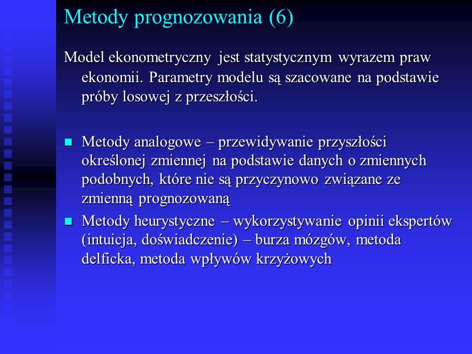 Metody prognozowania (6) Model ekonometryczny jest statystycznym wyrazem praw ekonomii. Parametry modelu są szacowane na podstawie próby losowej z prz