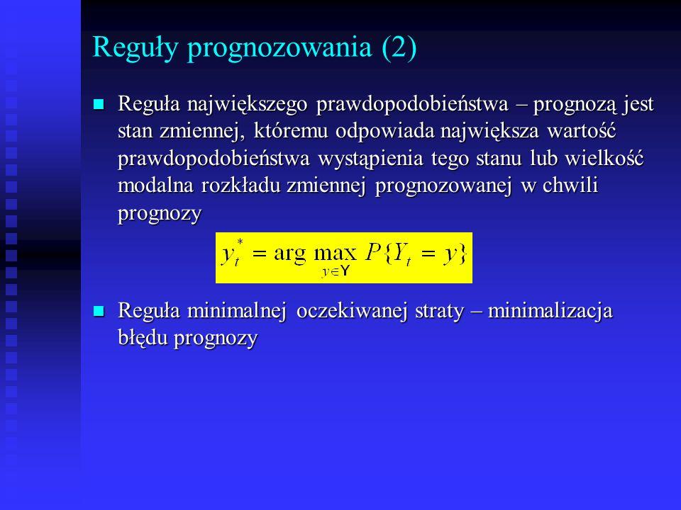 Reguły prognozowania (2) n Reguła największego prawdopodobieństwa – prognozą jest stan zmiennej, któremu odpowiada największa wartość prawdopodobieńst