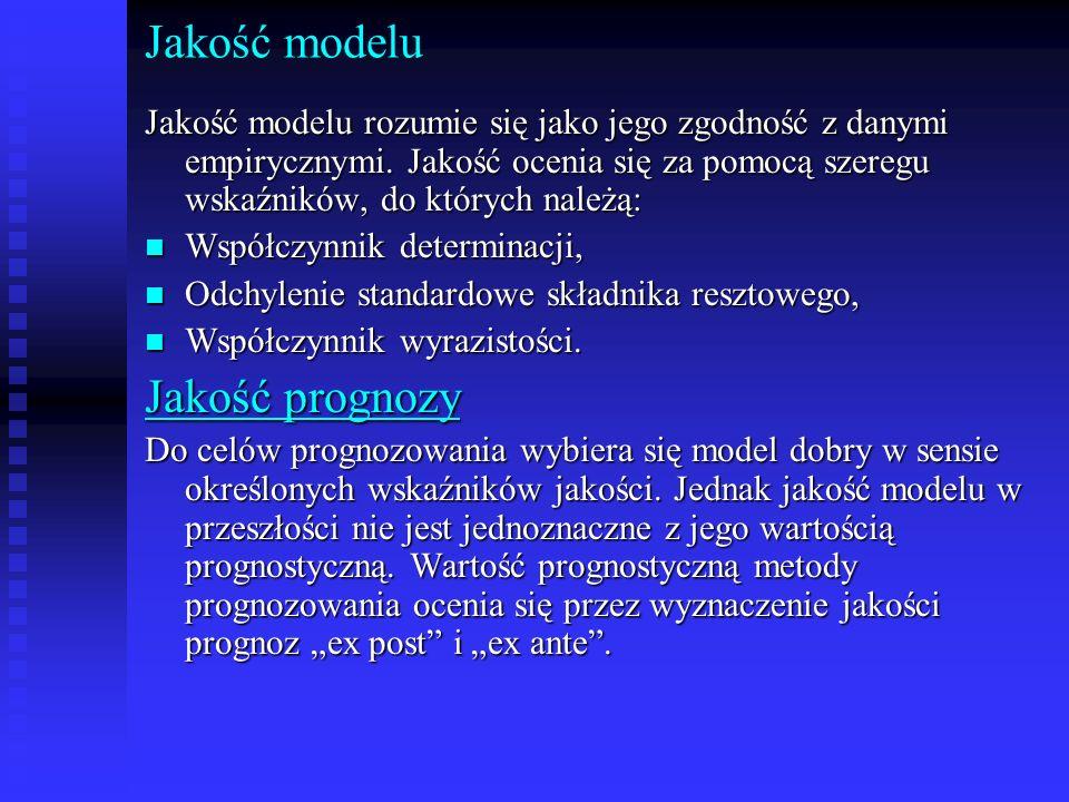 Jakość modelu Jakość modelu rozumie się jako jego zgodność z danymi empirycznymi. Jakość ocenia się za pomocą szeregu wskaźników, do których należą: n