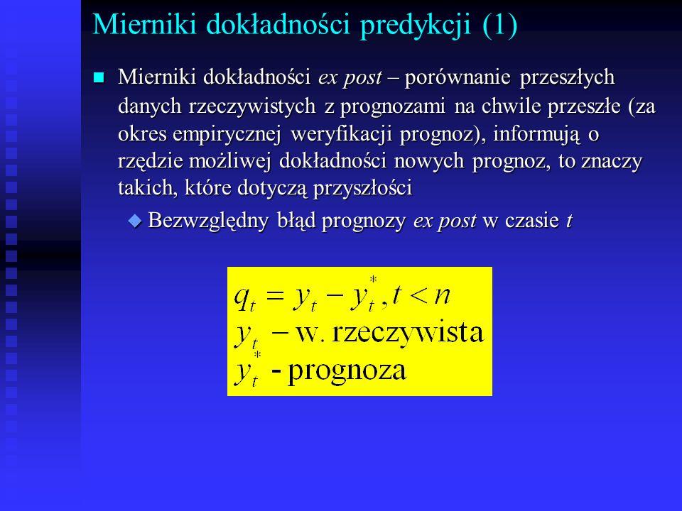 Mierniki dokładności predykcji (1) n Mierniki dokładności ex post – porównanie przeszłych danych rzeczywistych z prognozami na chwile przeszłe (za okr