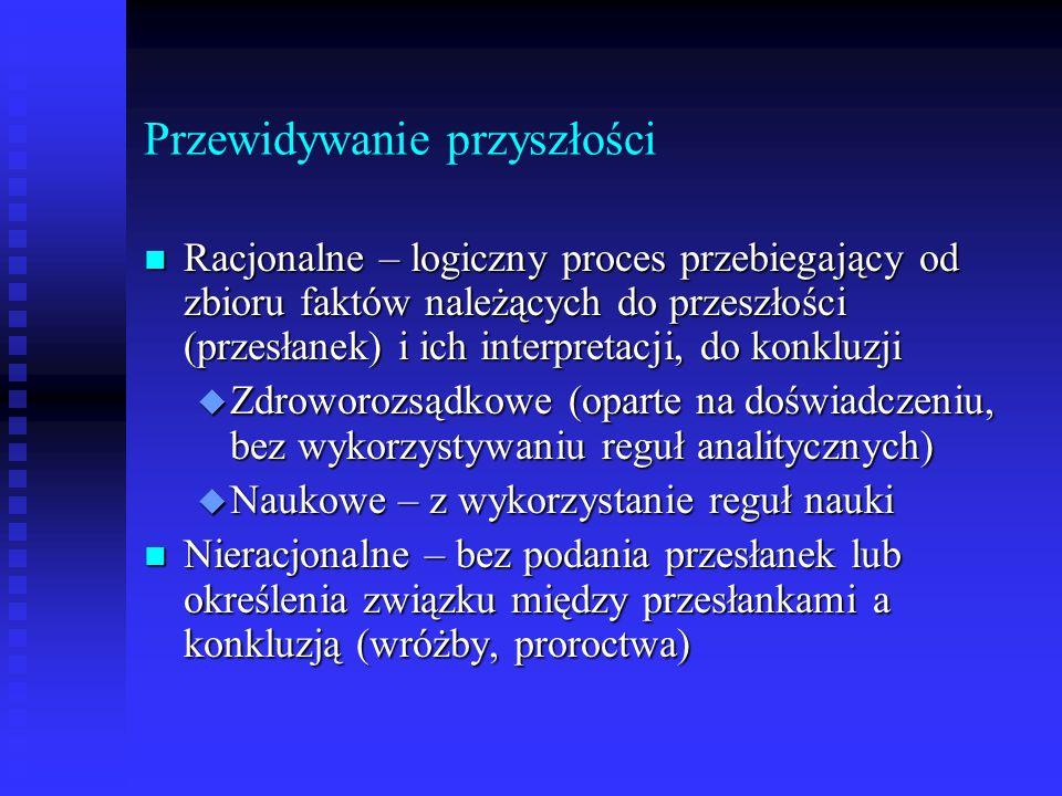 Etapy prognozowania (2) IV.Wyznaczenia prognoz.
