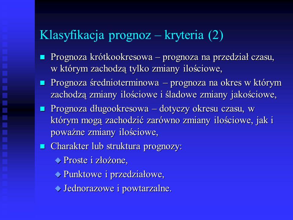 Klasyfikacja prognoz – kryteria (2) n Prognoza krótkookresowa – prognoza na przedział czasu, w którym zachodzą tylko zmiany ilościowe, n Prognoza śred