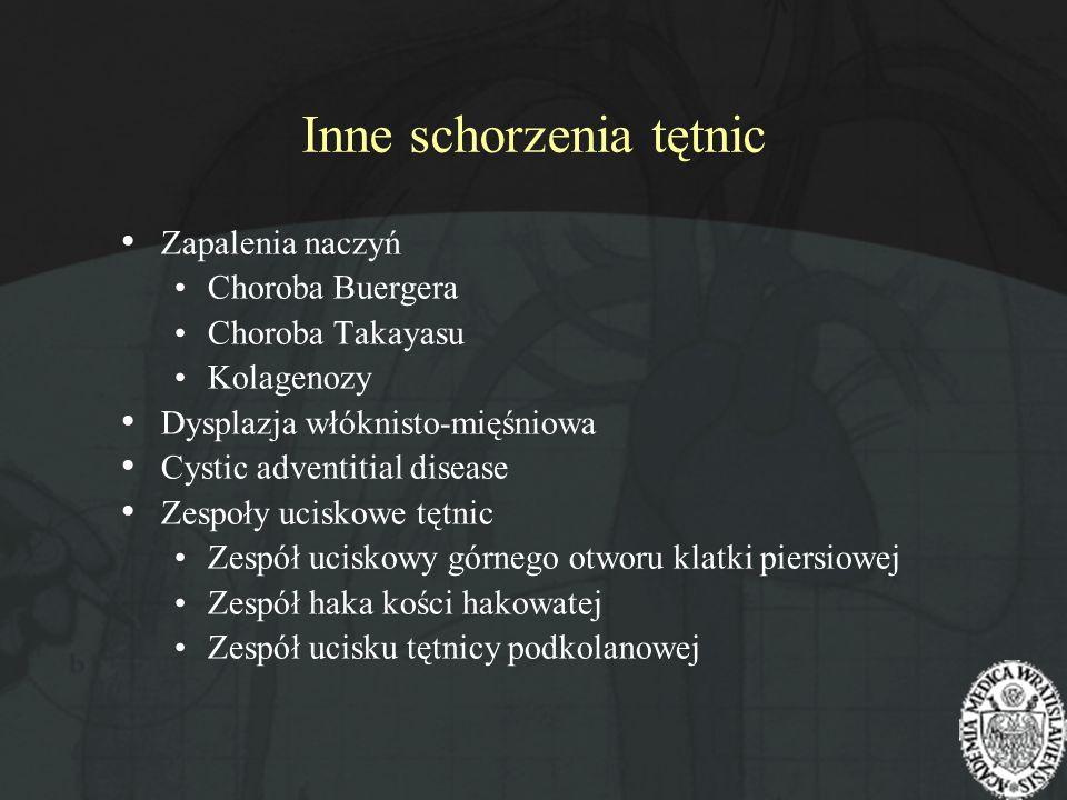 Inne schorzenia tętnic Zapalenia naczyń Choroba Buergera Choroba Takayasu Kolagenozy Dysplazja włóknisto-mięśniowa Cystic adventitial disease Zespoły