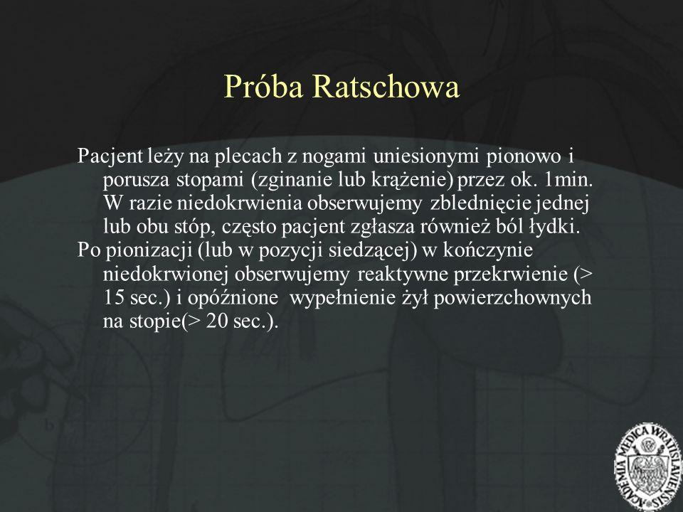 Próba Ratschowa Pacjent leży na plecach z nogami uniesionymi pionowo i porusza stopami (zginanie lub krążenie) przez ok. 1min. W razie niedokrwienia o