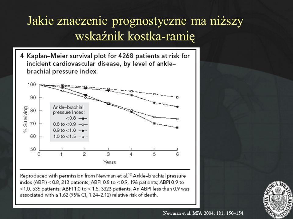 Jakie znaczenie prognostyczne ma niższy wskaźnik kostka-ramię Newman et al.:MJA 2004; 181: 150–154