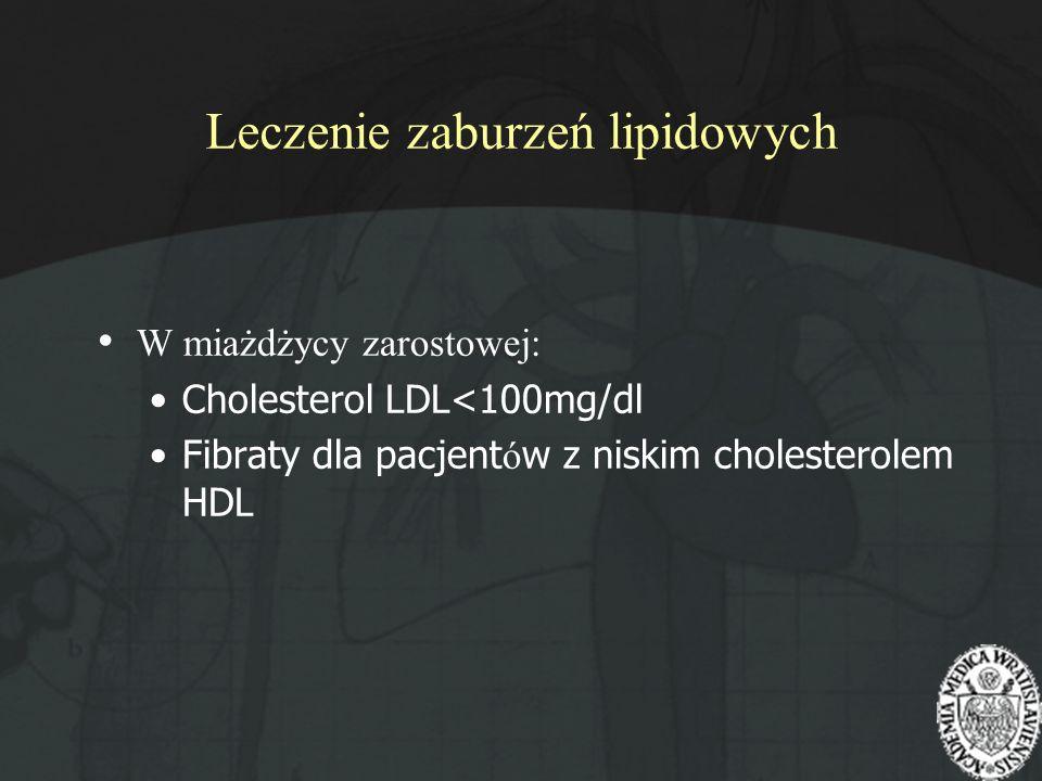 Leczenie zaburzeń lipidowych W miażdżycy zarostowej: Cholesterol LDL<100mg/dl Fibraty dla pacjent ó w z niskim cholesterolem HDL