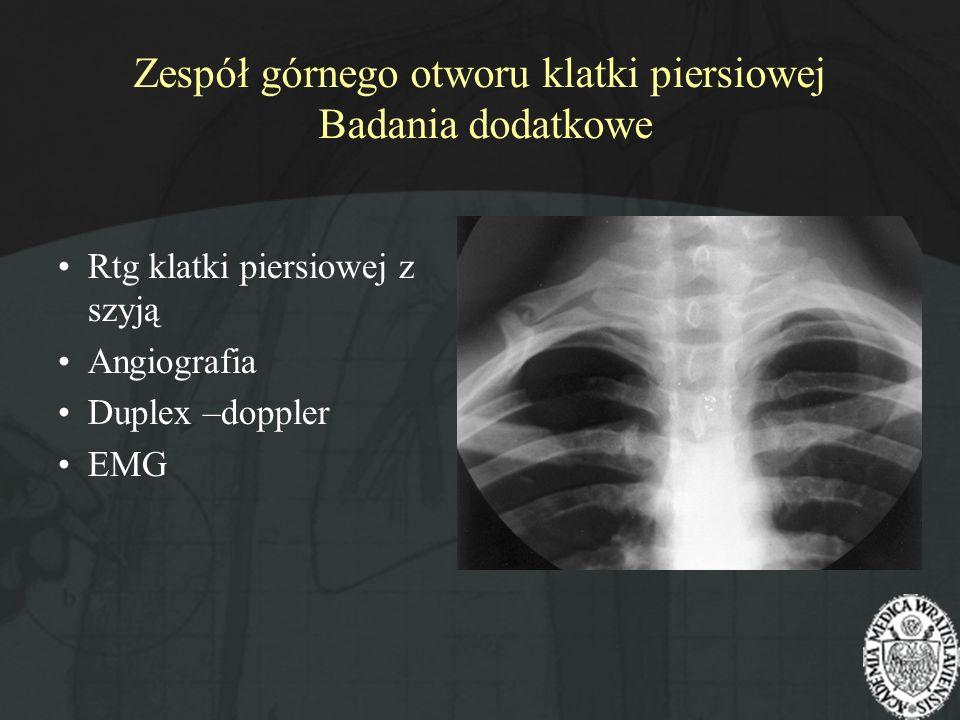 Zespół górnego otworu klatki piersiowej Badania dodatkowe Rtg klatki piersiowej z szyją Angiografia Duplex –doppler EMG