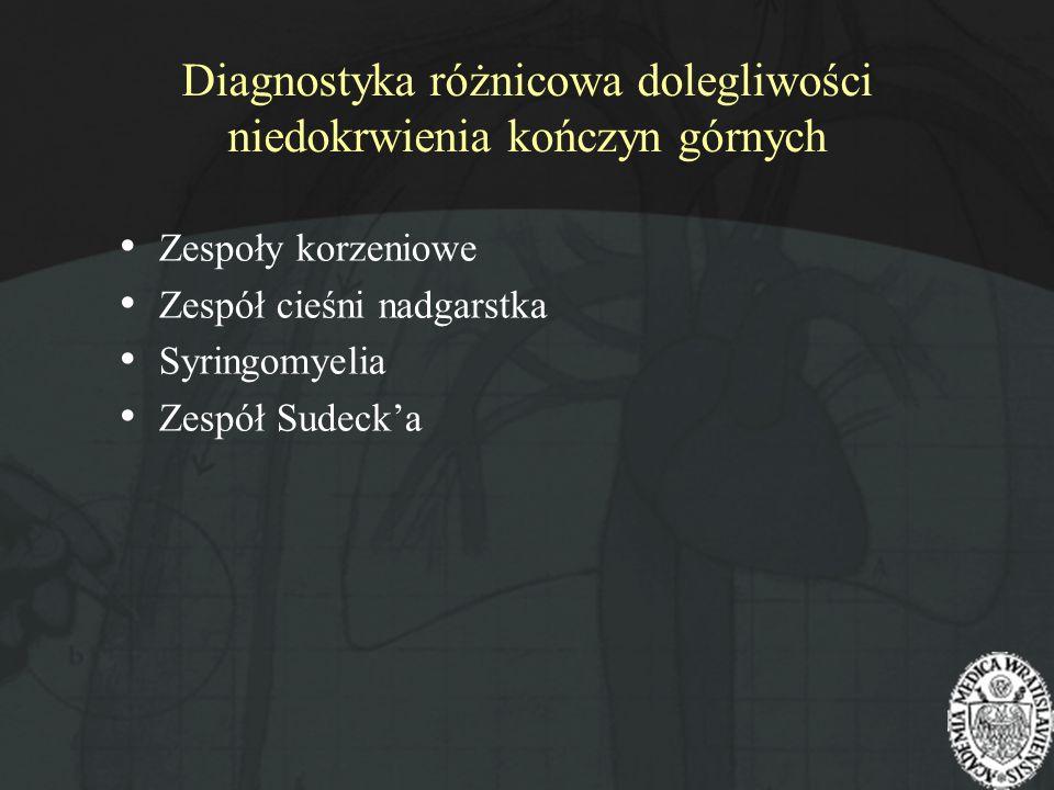 Diagnostyka różnicowa dolegliwości niedokrwienia kończyn górnych Zespoły korzeniowe Zespół cieśni nadgarstka Syringomyelia Zespół Sudecka
