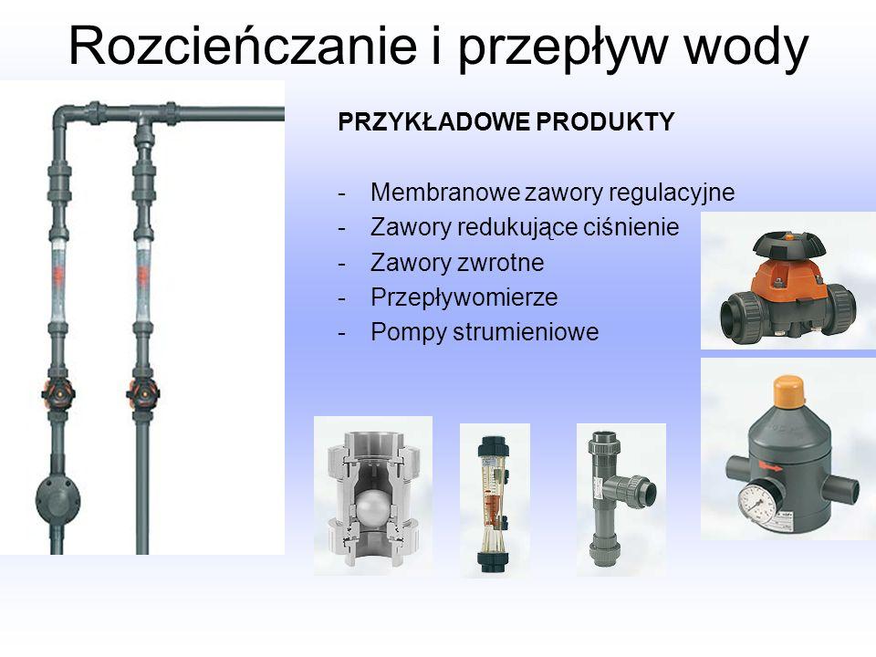 Rozcieńczanie i przepływ wody PRZYKŁADOWE PRODUKTY -Membranowe zawory regulacyjne -Zawory redukujące ciśnienie -Zawory zwrotne -Przepływomierze -Pompy