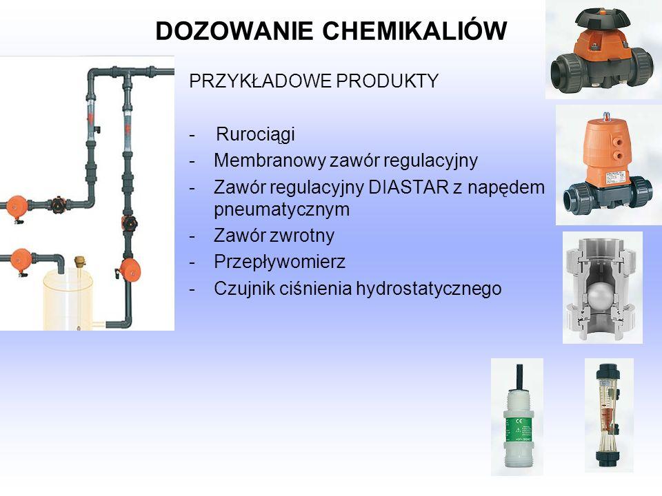 DOZOWANIE CHEMIKALIÓW PRZYKŁADOWE PRODUKTY - Rurociągi -Membranowy zawór regulacyjny -Zawór regulacyjny DIASTAR z napędem pneumatycznym -Zawór zwrotny