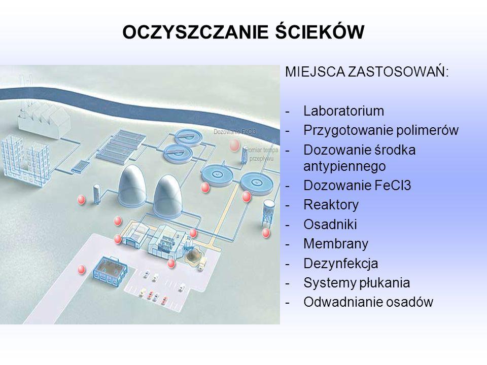 OCZYSZCZANIE ŚCIEKÓW MIEJSCA ZASTOSOWAŃ: -Laboratorium -Przygotowanie polimerów -Dozowanie środka antypiennego -Dozowanie FeCl3 -Reaktory -Osadniki -M