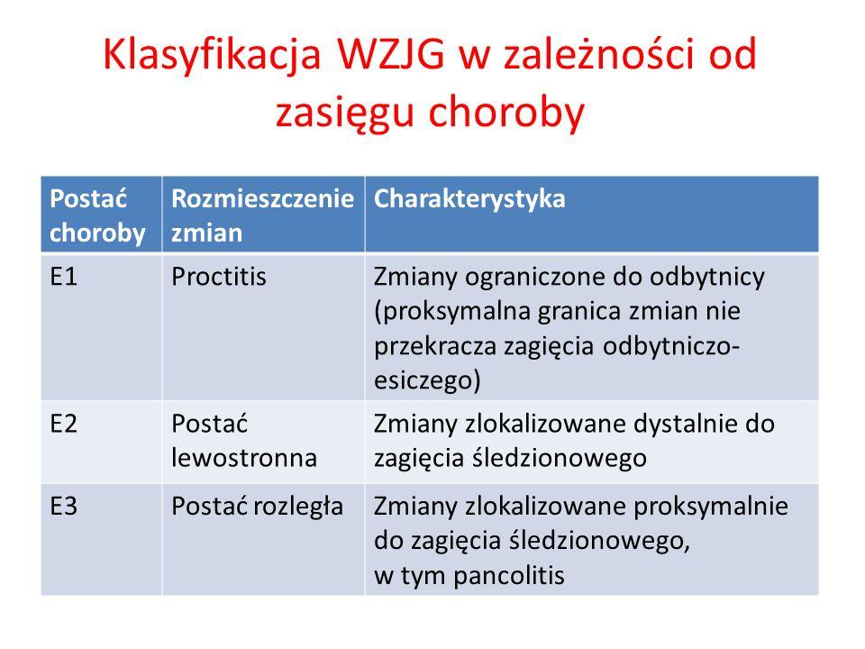 Klasyfikacja WZJG w zależności od zasięgu choroby Postać choroby Rozmieszczenie zmian Charakterystyka E1ProctitisZmiany ograniczone do odbytnicy (prok