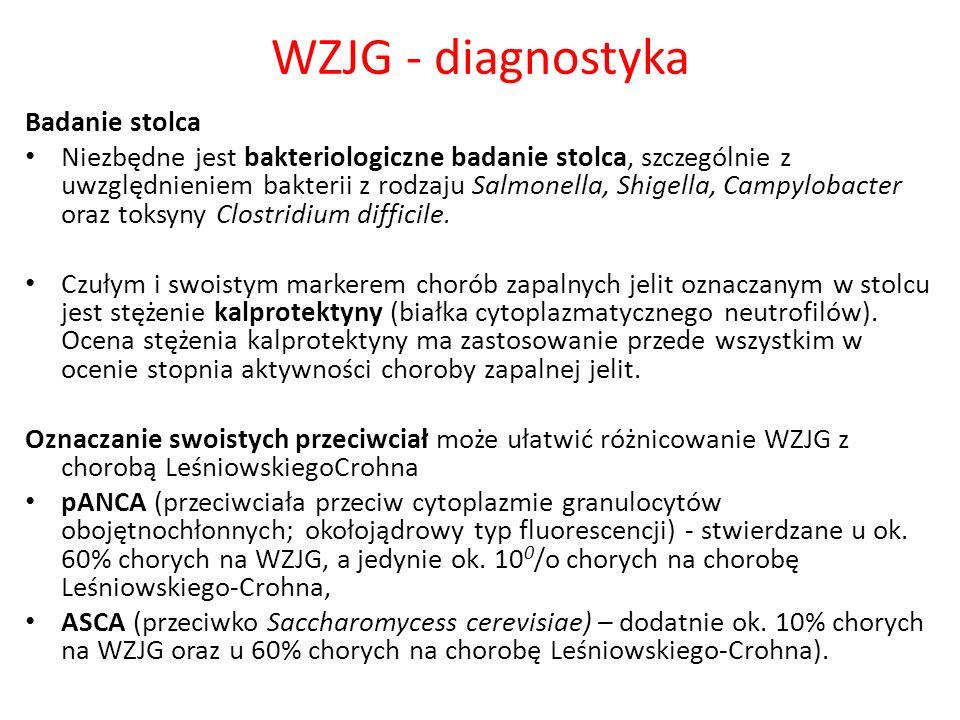 WZJG - diagnostyka Badanie stolca Niezbędne jest bakteriologiczne badanie stolca, szczególnie z uwzględnieniem bakterii z rodzaju Salmonella, Shigella