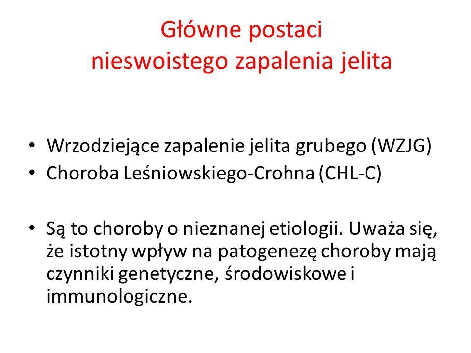Główne postaci nieswoistego zapalenia jelita Wrzodziejące zapalenie jelita grubego (WZJG) Choroba Leśniowskiego-Crohna (CHL-C) Są to choroby o nieznan