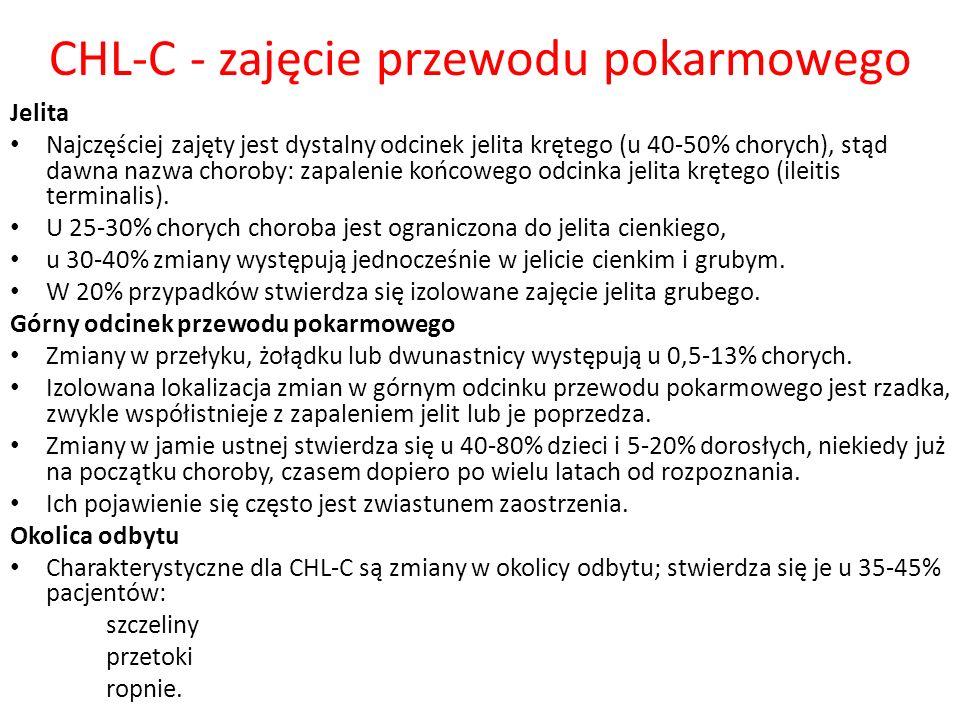 CHL-C - zajęcie przewodu pokarmowego Jelita Najczęściej zajęty jest dystalny odcinek jelita krętego (u 40-50% chorych), stąd dawna nazwa choroby: zapa