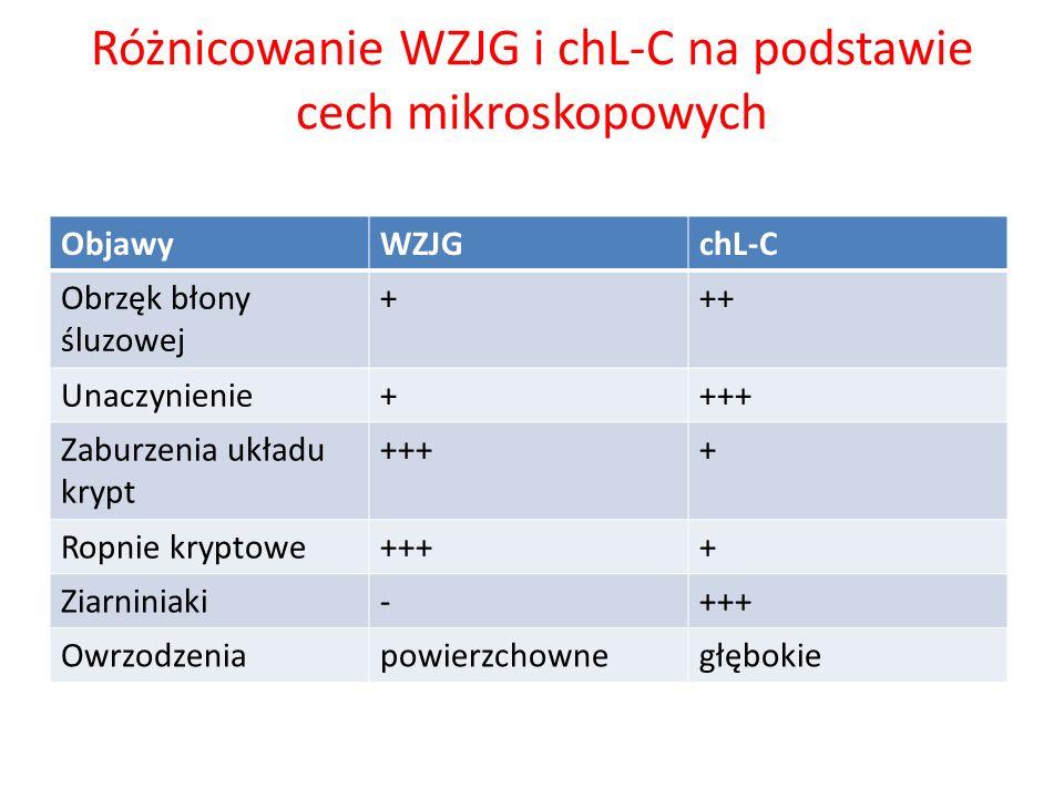 Różnicowanie WZJG i chL-C na podstawie cech mikroskopowych ObjawyWZJGchL-C Obrzęk błony śluzowej +++ Unaczynienie++++ Zaburzenia układu krypt ++++ Rop