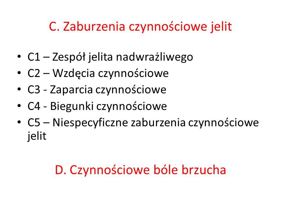 C. Zaburzenia czynnościowe jelit C1 – Zespół jelita nadwrażliwego C2 – Wzdęcia czynnościowe C3 - Zaparcia czynnościowe C4 - Biegunki czynnościowe C5 –