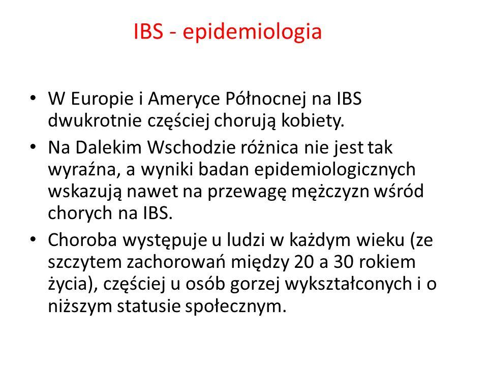 IBS - epidemiologia W Europie i Ameryce Północnej na IBS dwukrotnie częściej chorują kobiety. Na Dalekim Wschodzie różnica nie jest tak wyraźna, a wyn