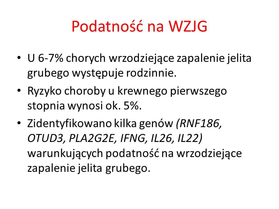 Podatność na WZJG U 6-7% chorych wrzodziejące zapalenie jelita grubego występuje rodzinnie. Ryzyko choroby u krewnego pierwszego stopnia wynosi ok. 5%