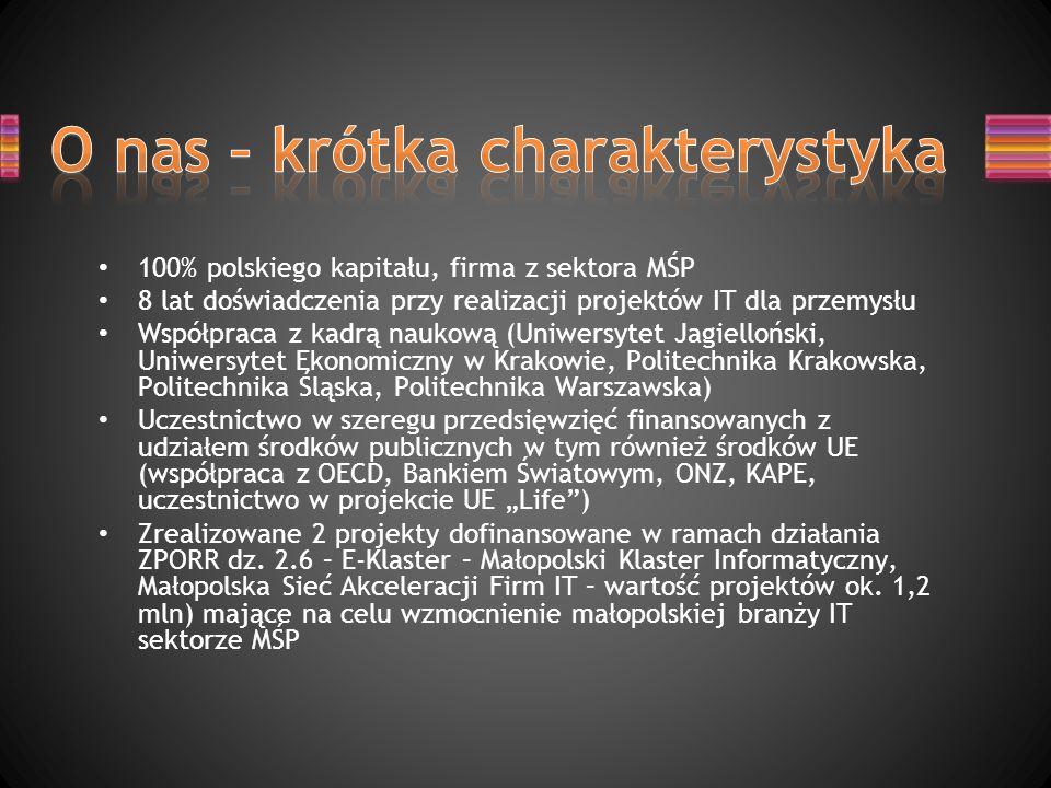 100% polskiego kapitału, firma z sektora MŚP 8 lat doświadczenia przy realizacji projektów IT dla przemysłu Współpraca z kadrą naukową (Uniwersytet Ja