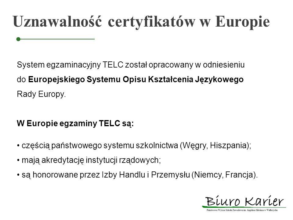Uznawalność certyfikatów w Europie System egzaminacyjny TELC został opracowany w odniesieniu do Europejskiego Systemu Opisu Kształcenia Językowego Rad