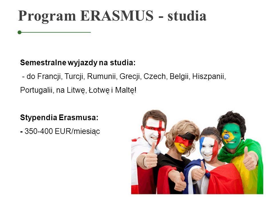 Semestralne wyjazdy na studia: - do Francji, Turcji, Rumunii, Grecji, Czech, Belgii, Hiszpanii, Portugalii, na Litwę, Łotwę i Maltę! Stypendia Erasmus