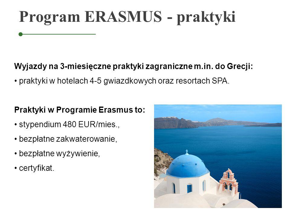 Program ERASMUS - praktyki Wyjazdy na 3-miesięczne praktyki zagraniczne m.in. do Grecji: praktyki w hotelach 4-5 gwiazdkowych oraz resortach SPA. Prak