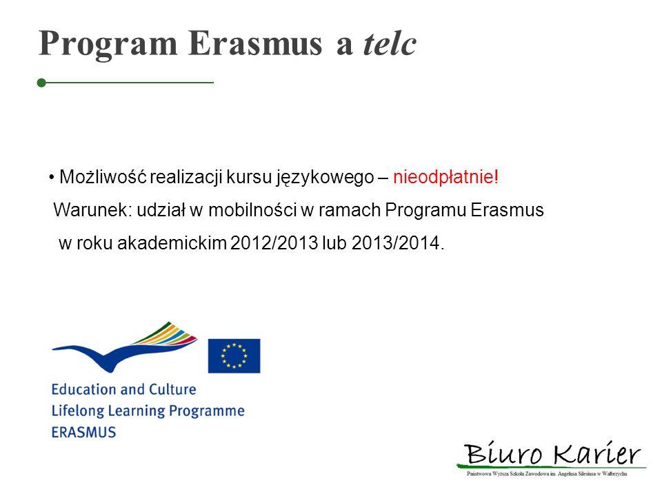 Program Erasmus a telc Możliwość realizacji kursu językowego – nieodpłatnie! Warunek: udział w mobilności w ramach Programu Erasmus w roku akademickim