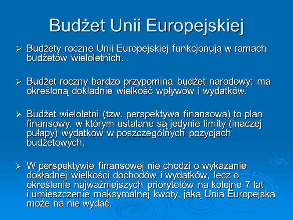Budżet Unii Europejskiej Budżety roczne Unii Europejskiej funkcjonują w ramach budżetów wieloletnich.