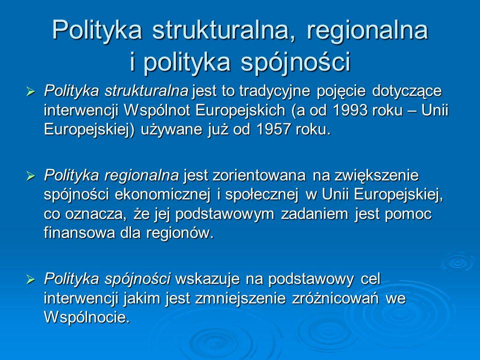 Polityka strukturalna, regionalna i polityka spójności Polityka strukturalna jest to tradycyjne pojęcie dotyczące interwencji Wspólnot Europejskich (a od 1993 roku – Unii Europejskiej) używane już od 1957 roku.