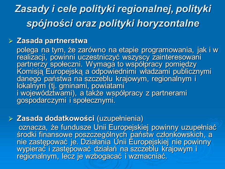 Zasady i cele polityki regionalnej, polityki spójności oraz polityki horyzontalne Zasada partnerstwa Zasada partnerstwa polega na tym, że zarówno na etapie programowania, jak i w realizacji, powinni uczestniczyć wszyscy zainteresowani partnerzy społeczni.