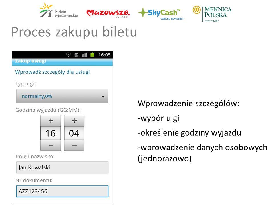 Wprowadzenie szczegółów: -wybór ulgi -określenie godziny wyjazdu -wprowadzenie danych osobowych (jednorazowo) Proces zakupu biletu