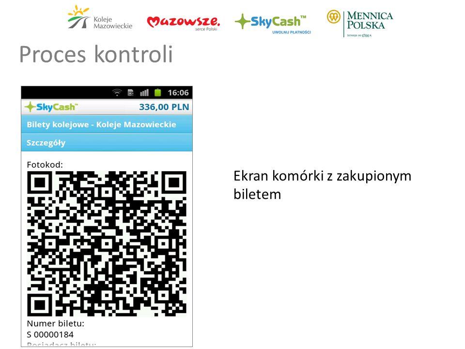 Ekran komórki z zakupionym biletem Proces kontroli