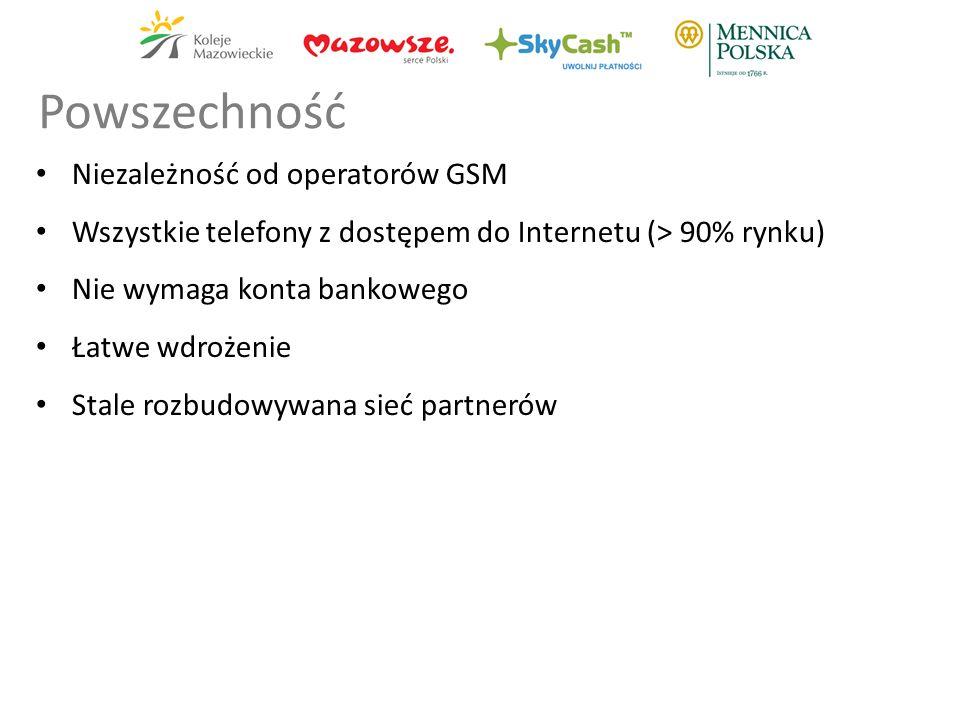 Niezależność od operatorów GSM Wszystkie telefony z dostępem do Internetu (> 90% rynku) Nie wymaga konta bankowego Łatwe wdrożenie Stale rozbudowywana sieć partnerów Powszechność