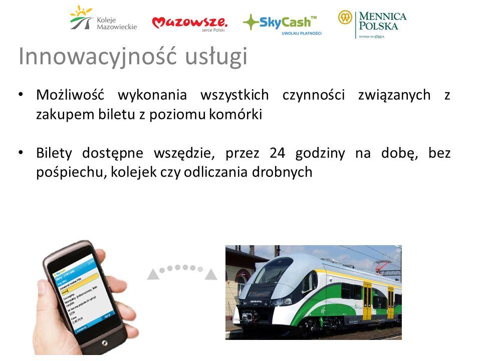 Możliwość wykonania wszystkich czynności związanych z zakupem biletu z poziomu komórki Bilety dostępne wszędzie, przez 24 godziny na dobę, bez pośpiechu, kolejek czy odliczania drobnych Innowacyjność usługi