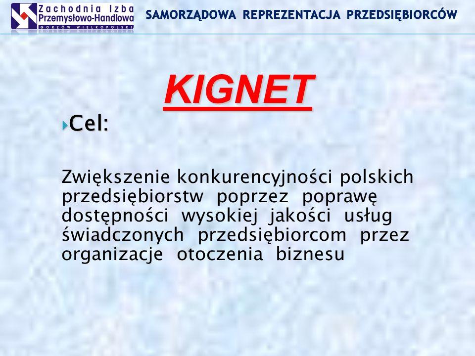 KIGNET Cel: Cel: Zwiększenie konkurencyjności polskich przedsiębiorstw poprzez poprawę dostępności wysokiej jakości usług świadczonych przedsiębiorcom przez organizacje otoczenia biznesu