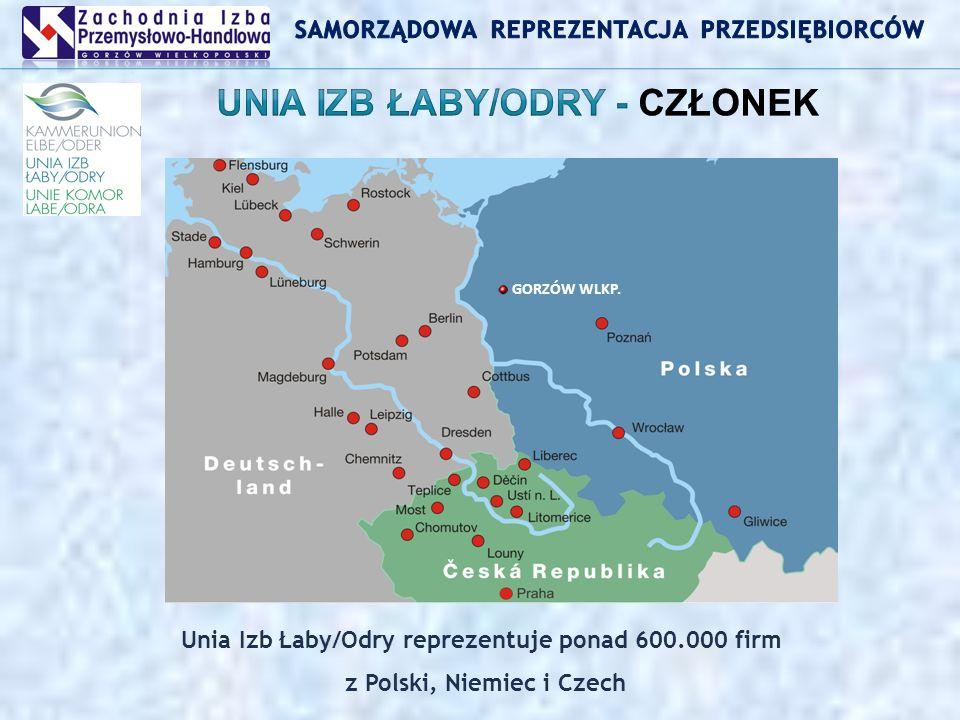 Unia Izb Łaby/Odry reprezentuje ponad 600.000 firm z Polski, Niemiec i Czech GORZÓW WLKP.