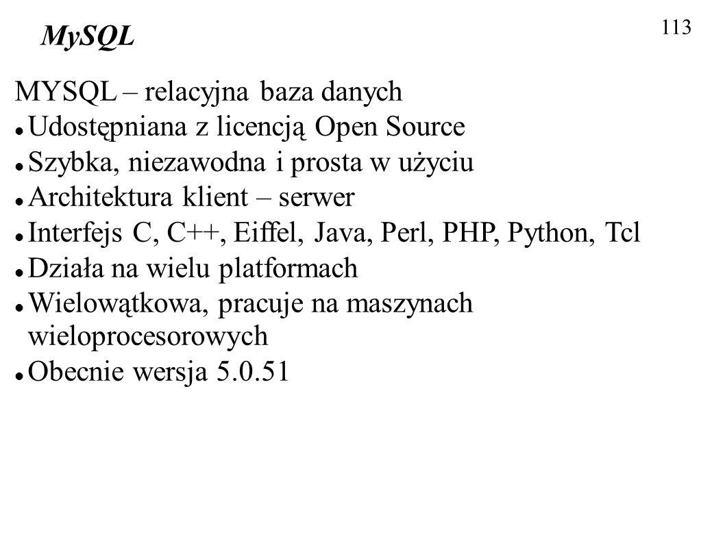 113 MySQL MYSQL – relacyjna baza danych Udostępniana z licencją Open Source Szybka, niezawodna i prosta w użyciu Architektura klient – serwer Interfej