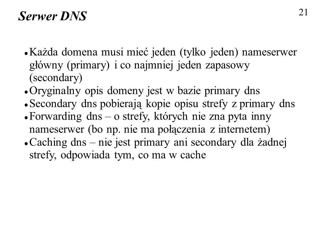 21 Serwer DNS Każda domena musi mieć jeden (tylko jeden) nameserwer główny (primary) i co najmniej jeden zapasowy (secondary) Oryginalny opis domeny j