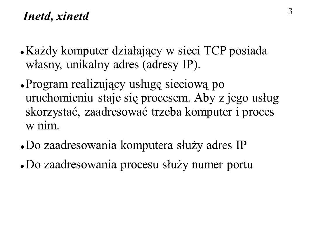 3 Inetd, xinetd Każdy komputer działający w sieci TCP posiada własny, unikalny adres (adresy IP). Program realizujący usługę sieciową po uruchomieniu