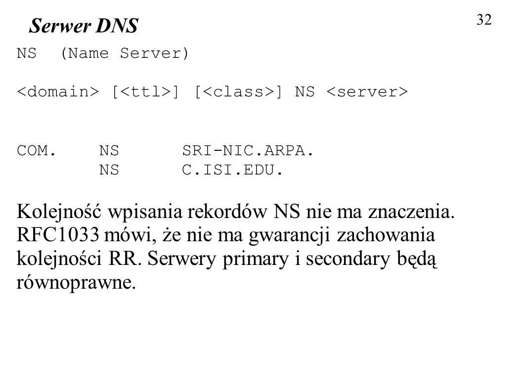 32 Serwer DNS NS (Name Server) [ ] [ ] NS COM. NS SRI-NIC.ARPA. NS C.ISI.EDU. Kolejność wpisania rekordów NS nie ma znaczenia. RFC1033 mówi, że nie ma
