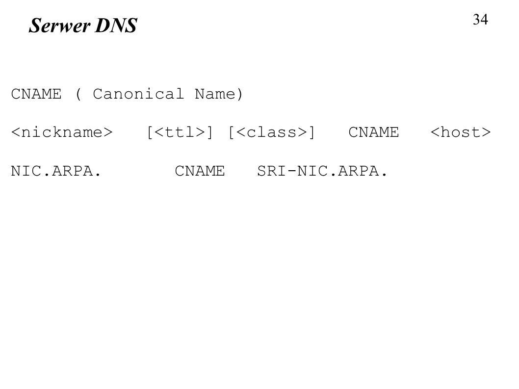 34 Serwer DNS CNAME ( Canonical Name) [ ] [ ] CNAME NIC.ARPA. CNAME SRI-NIC.ARPA.