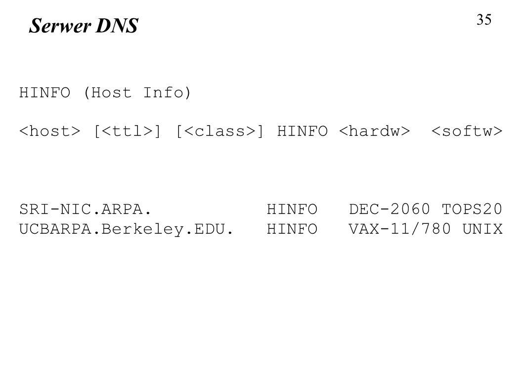 35 Serwer DNS HINFO (Host Info) [ ] [ ] HINFO SRI-NIC.ARPA. HINFO DEC-2060 TOPS20 UCBARPA.Berkeley.EDU. HINFO VAX-11/780 UNIX