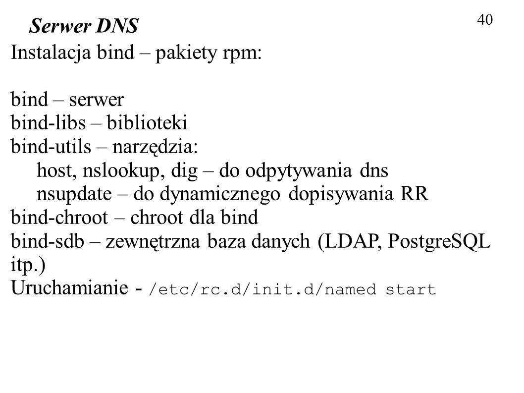 40 Serwer DNS Instalacja bind – pakiety rpm: bind – serwer bind-libs – biblioteki bind-utils – narzędzia: host, nslookup, dig – do odpytywania dns nsu