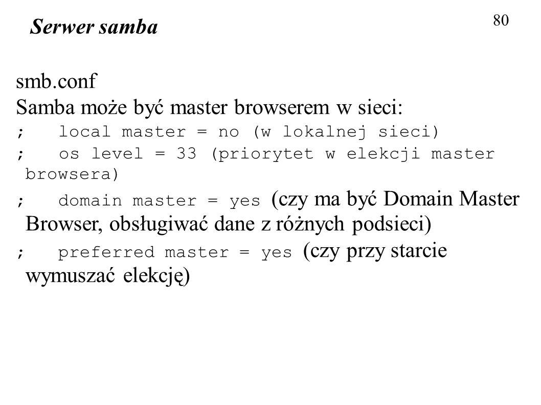 80 Serwer samba smb.conf Samba może być master browserem w sieci: ; local master = no (w lokalnej sieci) ; os level = 33 (priorytet w elekcji master b