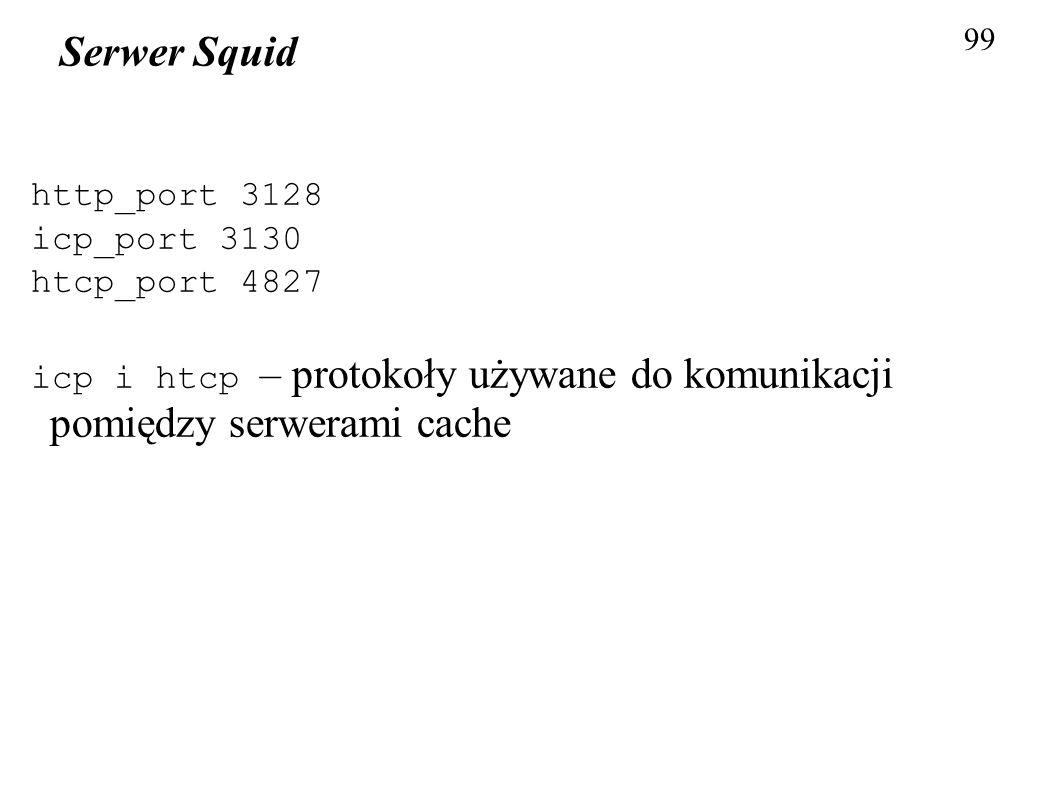99 Serwer Squid http_port 3128 icp_port 3130 htcp_port 4827 icp i htcp – protokoły używane do komunikacji pomiędzy serwerami cache