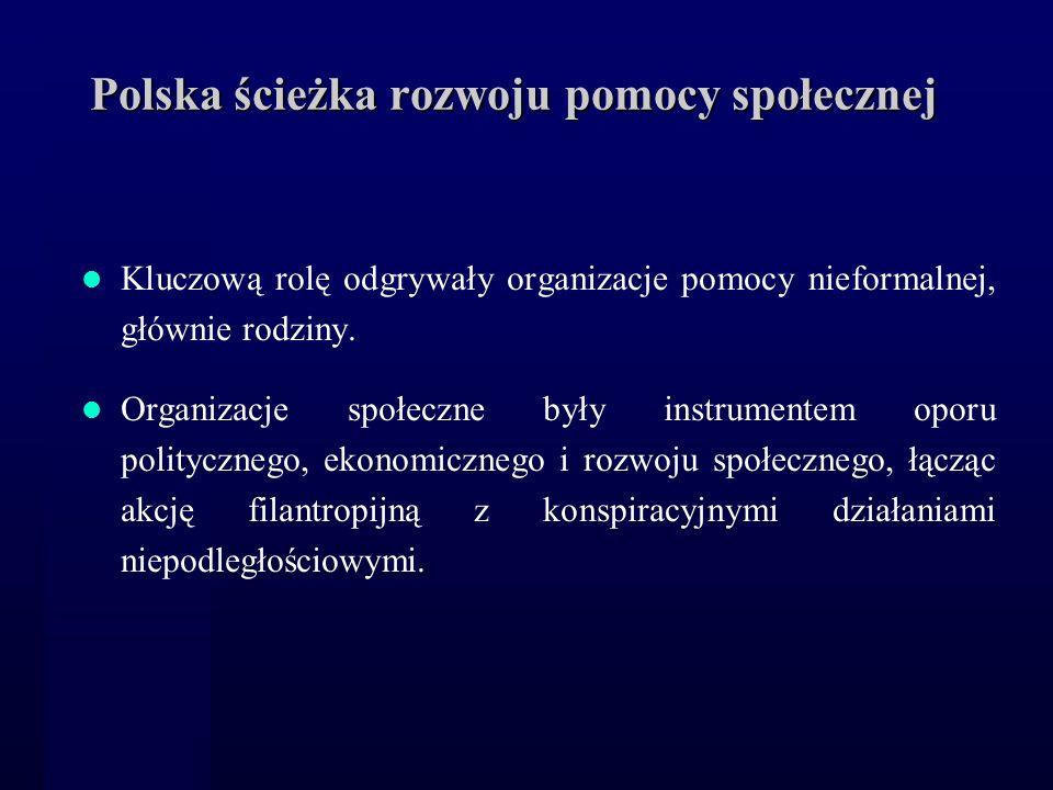 Polska ścieżka rozwoju pomocy społecznej Kluczową rolę odgrywały organizacje pomocy nieformalnej, głównie rodziny. Organizacje społeczne były instrume