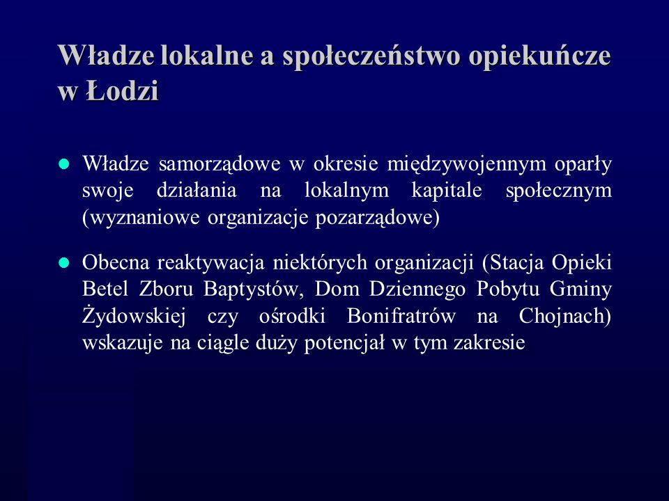 Władze lokalne a społeczeństwo opiekuńcze w Łodzi Władze samorządowe w okresie międzywojennym oparły swoje działania na lokalnym kapitale społecznym (