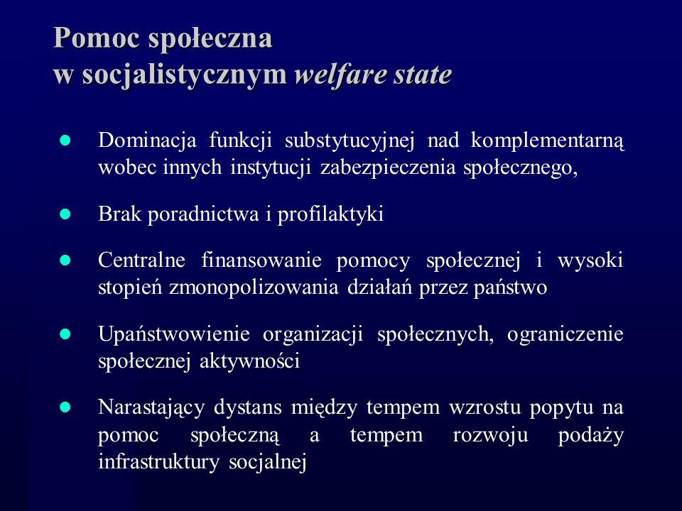 Pomoc społeczna w socjalistycznym welfare state Dominacja funkcji substytucyjnej nad komplementarną wobec innych instytucji zabezpieczenia społecznego