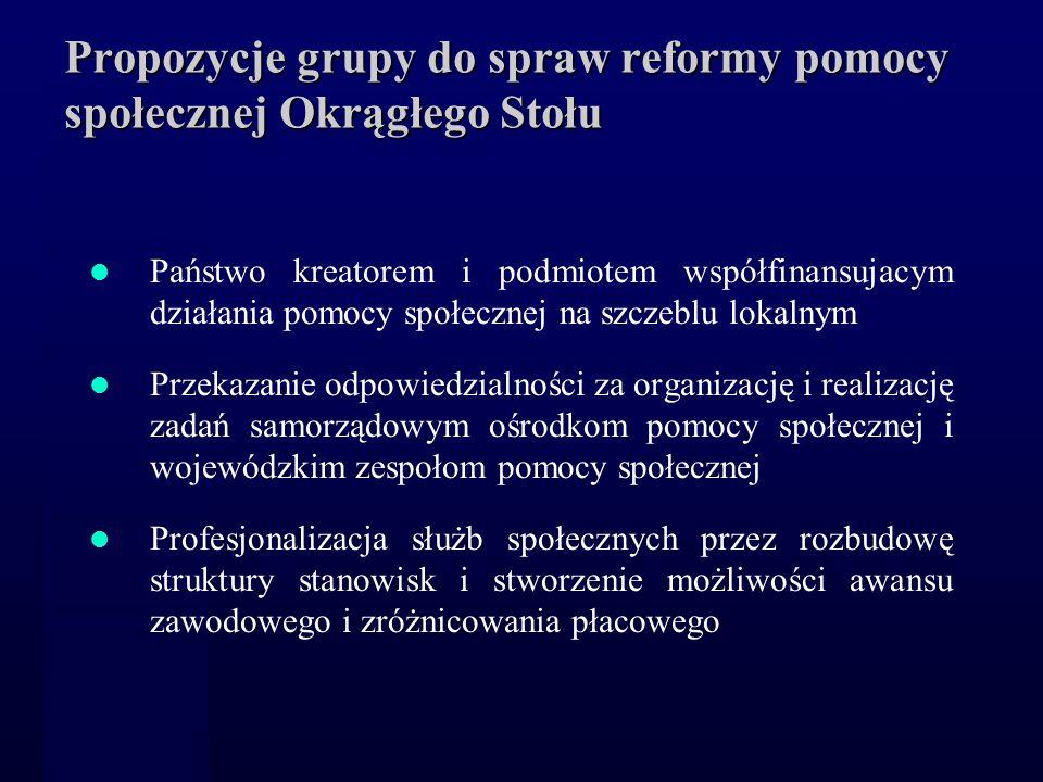 Propozycje grupy do spraw reformy pomocy społecznej Okrągłego Stołu Państwo kreatorem i podmiotem współfinansujacym działania pomocy społecznej na szc